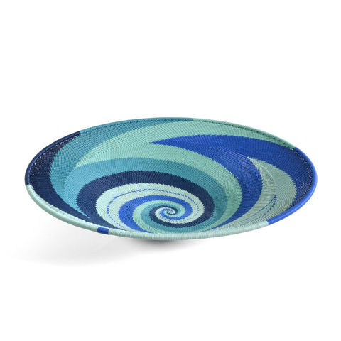 "Fair Trade Zulu Telephone Wire 12"" Platter Basket, African Ocean - The Barrington Garage"