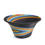 Fair Trade Zulu Telephone Wire Small Cone Basket, African Rainbow - The Barrington Garage