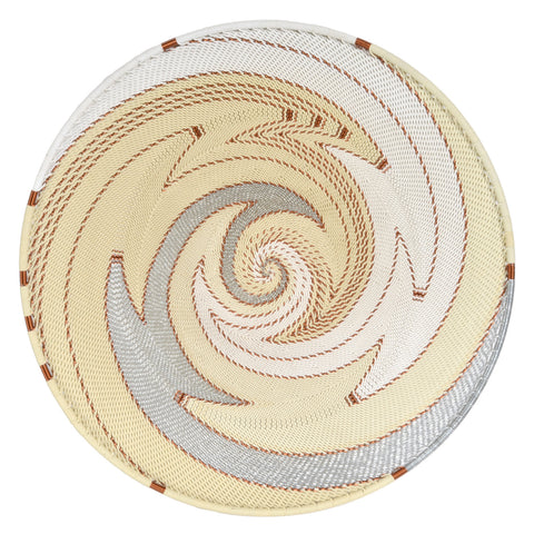 Fair Trade Zulu Telephone Wire 12-inch Platter Basket, Silver Sea