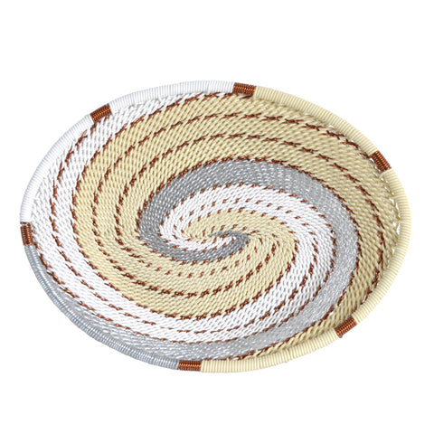 Fair Trade Zulu Telephone Wire Small Oval Basket, Each One Unique, Silver Sea