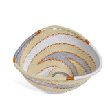 Fair Trade Zulu Telephone Wire Small Triangle Basket, Silver Sea