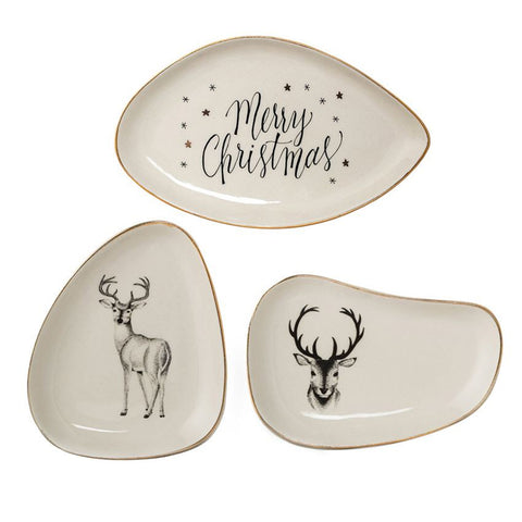 Bloomingville Merry Christmas Small Stoneware Plates with Gold Trim, Set of 3