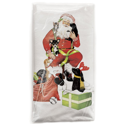 Mary Lake-Thompson Santa with Puppies Cotton Flour Sack Dish Towel