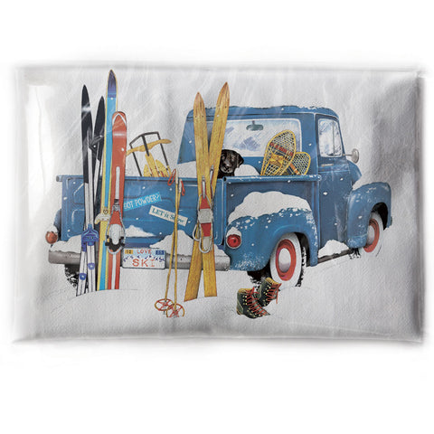 Mary Lake-Thompson Blue Pickup Truck with Skis Flour Sack Dish Towel