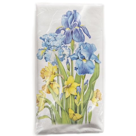 Mary Lake-Thompson Irises and Daffodils Cotton Flour Sack Dish Towel
