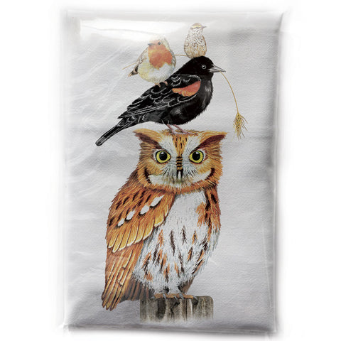Mary Lake-Thompson Stacked Autumn Birds Cotton Flour Sack Dish Towel