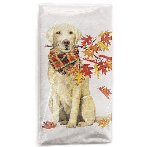 Mary Lake-Thompson Golden Retriever with Autumn Branch Cotton Flow Sack Dish Towel