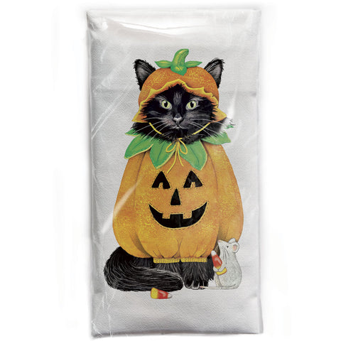 Mary Lake-Thompson Cat Halloween Pumpkin Cotton Flour Sack Dish Towel