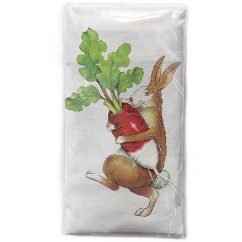 Mary Lake-Thompson Rabbit with Radish Flour Sack Dish Towel