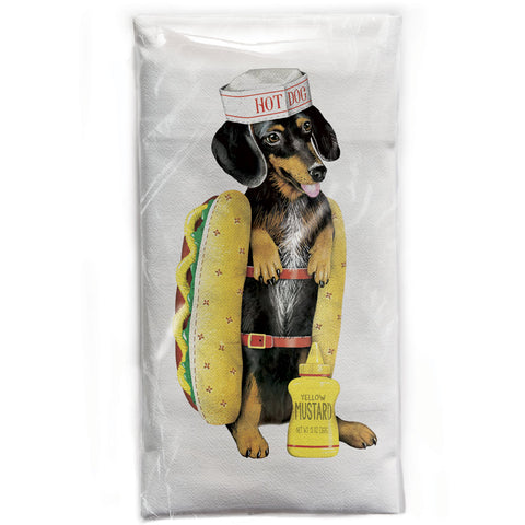Mary Lake-Thompson Dachshund Hot Dog Flour Sack Dish Towel