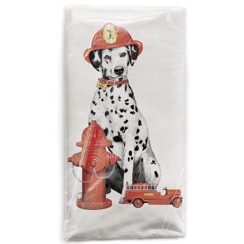 Mary Lake-Thompson Dalmatian Fireman Flour Sack Dish Towel