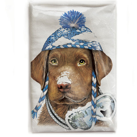 Mary Lake-Thompson Brown Lab with Winter Hat Flour Sack Dish Towel