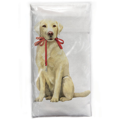 Mary Lake-Thompson Yellow Lab with Red Leash Flour Sack Dish Towel