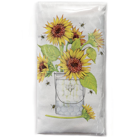 Mary Lake-Thompson Sunflowers and Bees Cotton Flour Sack Dish Towel
