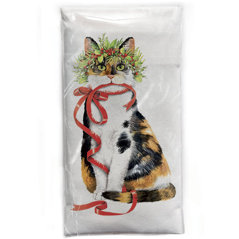 Mary Lake-Thompson Cat with Crown Cotton Flour Sack Dish Towel