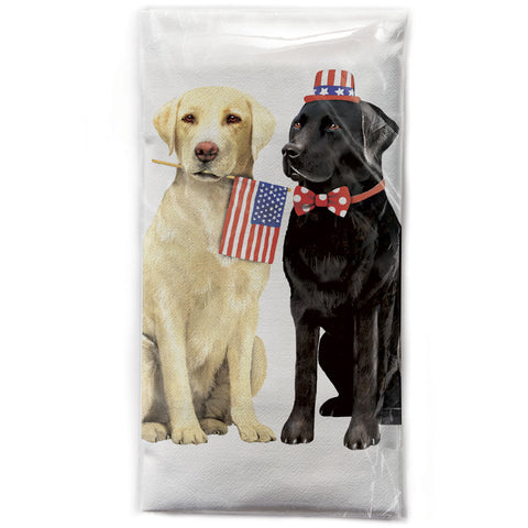 Mary Lake-Thompson 4th of July Labs Cotton Flour Sack Kitchen Towel