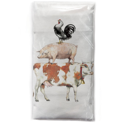 Mary Lake-Thompson Stacked Farm Animals Cotton Flour Sack Dish Towel