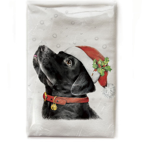 Mary Lake-Thompson Black Lab with Santa Cap Cotton Flour Sack Dish Towel