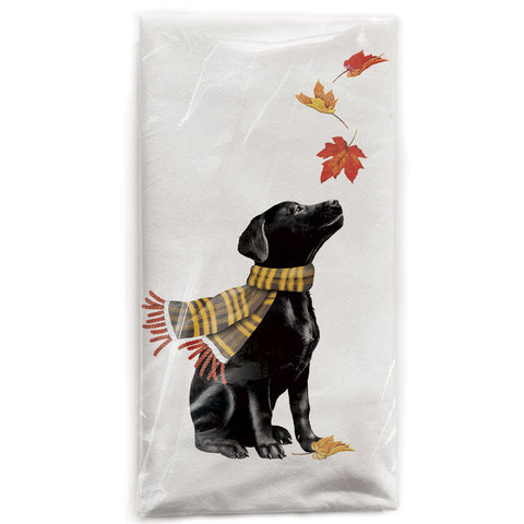 Mary Lake-Thompson Black Lab with Autumn Leaves Cotton Flour Sack Dish Towel