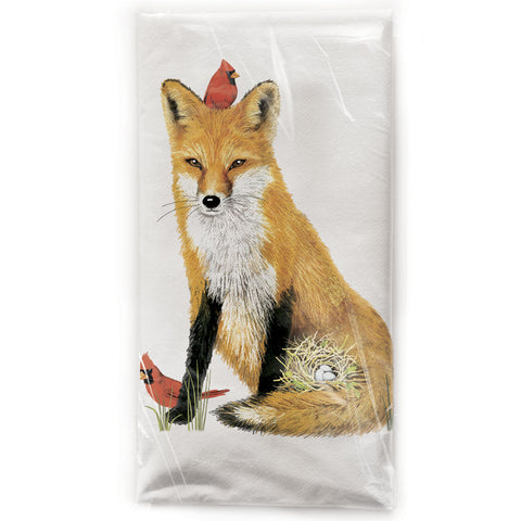 Mary Lake-Thompson Spring Fox Cotton Flour Sack Dish Towel