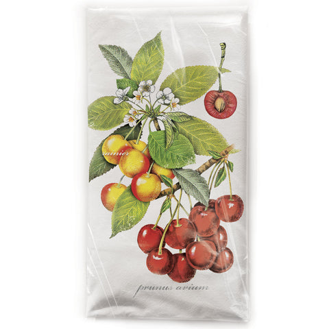 Mary Lake-Thompson Botanical Cherries Cotton Flour Sack Dish Towel