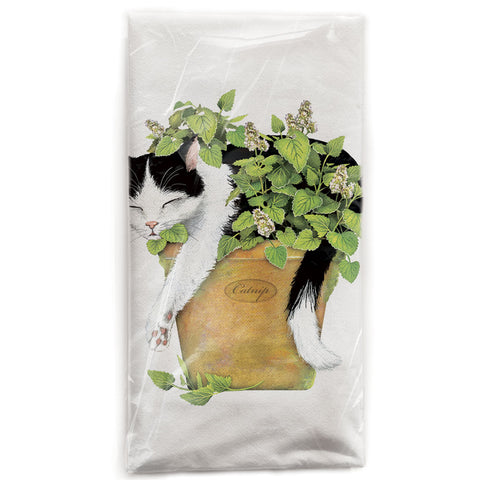 Mary Lake-Thompson Cat in Catnip Flour Sack Dish Towel