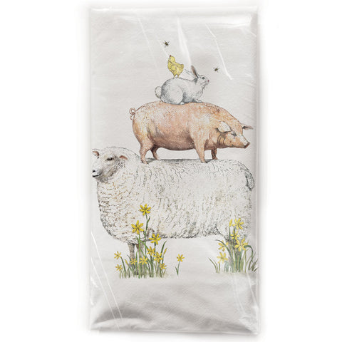 Mary Lake-Thompson Spring Farm Animals Cotton Flour Sack Kitchen Towel