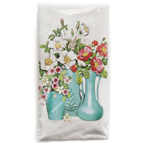 Mary Lake-Thompson Blue Vases with Flowers Flour Sack Dish Towel