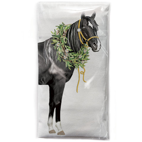 Mary Lake-Thompson Horse with Olive Wreath Cotton Flour Sack Dish Towel