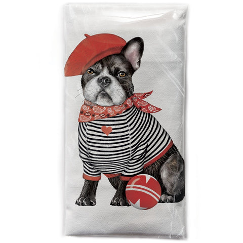Mary Lake-Thompson Frenchie Beret Cotton Flour Sack Dish Towel