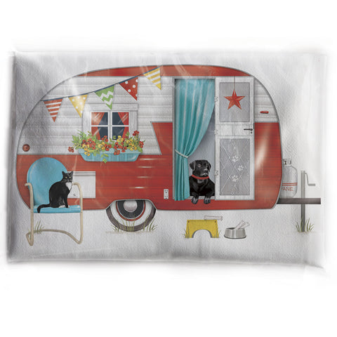 Mary Lake-Thompson Red Camper Flour Sack Dish Towel