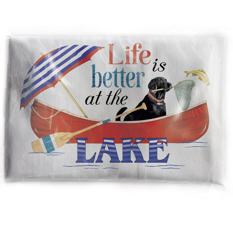 Mary Lake-Thompson Life is Better at the Lake Cotton Flour Sack Dish Towel