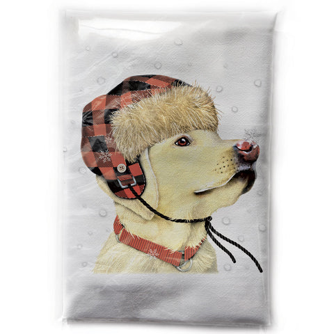 Mary Lake-Thompson Yellow Lab with Hat and Snowflakes Cotton Flour Sack Dish Towel
