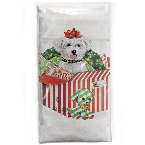 Mary Lake-Thompson Bichon Present Cotton Flour Sack DIsh Towel