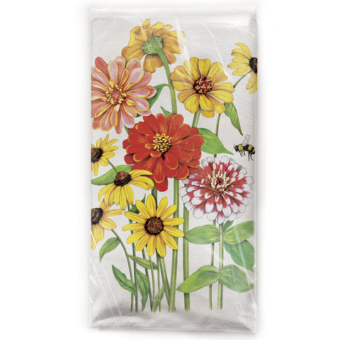 Mary Lake-Thompson Zinnia Garden Cotton Flour Sack Dish Towel