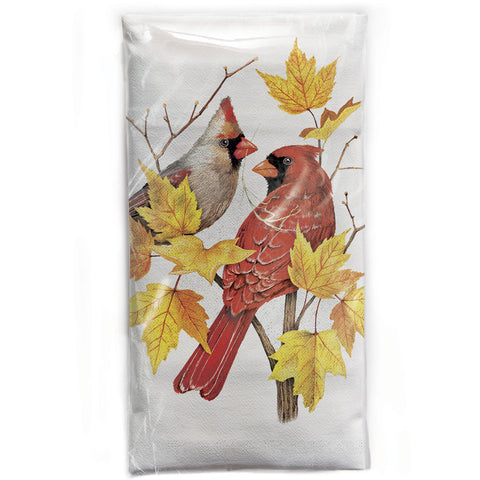 Mary Lake-Thompson Cardinals on a Maple Branch Cotton Flour Sack Dish Towel
