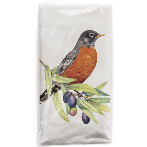 Mary Lake-Thompson Robin on Olive Branch Cotton Flour Sack Dish Towel