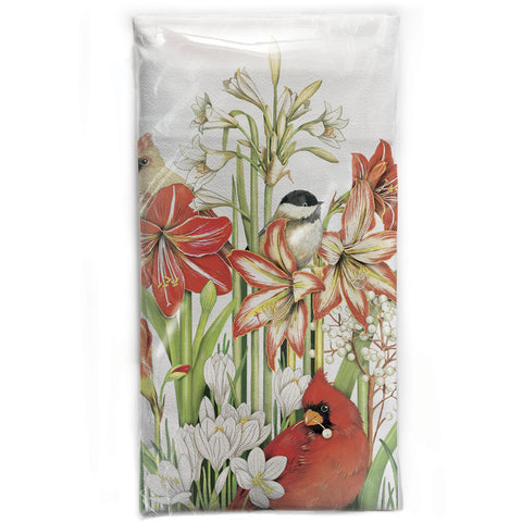 Mary Lake-Thompson Winter Birds and Flowers Cotton Flour Sack Dish Towel