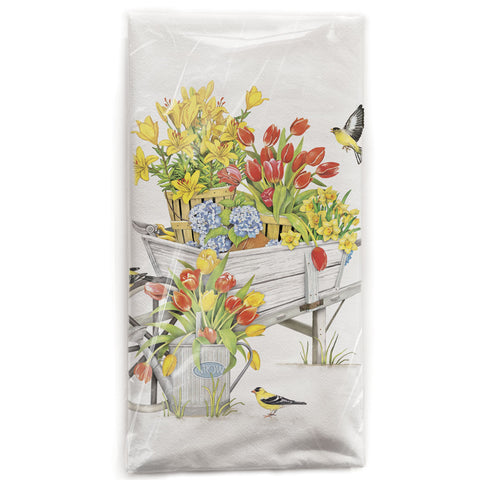 Mary Lake-Thompson Tulip Wheelbarrow Cotton Flour Sack Dish Towel