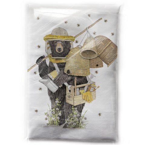 Mary Lake-Thompson Beekeeper Bear Cotton Flour Sack Dish Towel