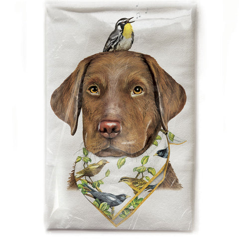 Mary Lake-Thompson Lab with Bird and Bandana Cotton Flour Sack Dish Towel