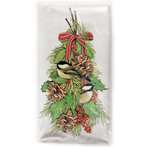 Mary Lake-Thompson Chickadees and Holly Cotton Flour Sack Dish Towel