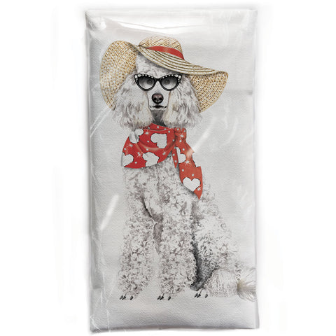 Mary Lake-Thompson Poodle with Sunglasses Flour Sack Dish Towel