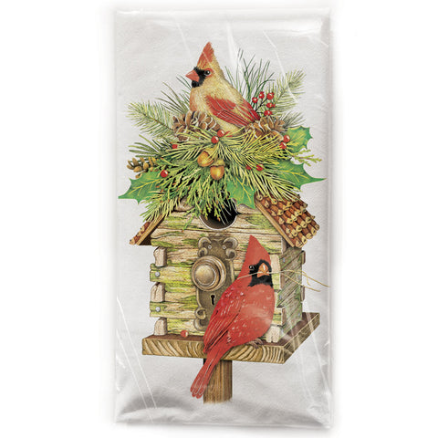 Mary Lake-Thompson Cardinals with Log Cabin Birdhouse Cotton Flour Sack Dish Towel