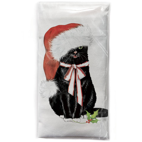 Mary Lake-Thompson Black Cat with Santa Cap Cotton Flour Sack Dish Towel