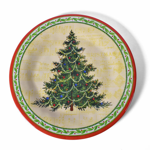Bamboo Table Christmas Tree 8.5-inch Salad/Dessert Plate, Set of 4