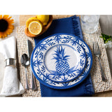 Bamboo Table Blue Pineapple 10.5-inch Dinner Plate, Set of 4