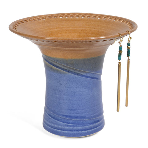 Barb Lund Pottery Earring Holder, Oatmeal/Medium Blue