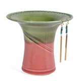 Copy of Barb Lund Pottery Earring Holder, Lime/Pink