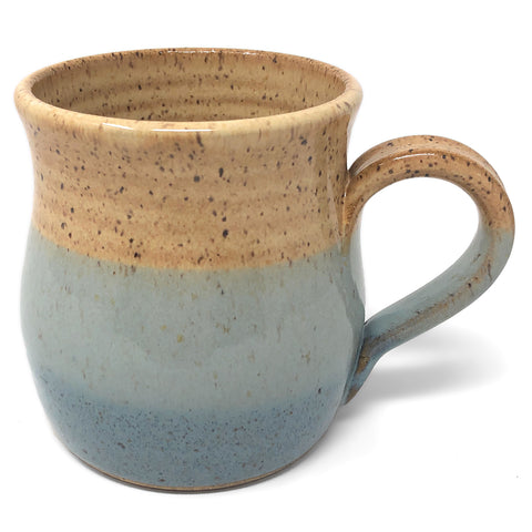 Barbarah Robertson Pottery Handmade Farmhouse Mug, Honey Caramel and Big Sky Blue